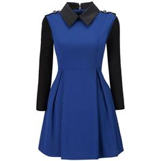 Doll Collar Patchwork Color Block Skater Dress ($26) ❤ liked on Polyvore featuring dresses, doll dress, blue color block dress, long blue dress, long-sleeve babydoll dresses and collared skater dress