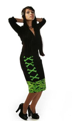 SALE - Green Bats and Bones Pencil Skirt LIMITED EDITION - Psychobilly Goth Halloween Rockabilly Pin Up. $44.95, via Etsy.