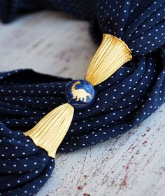Blue and white polka dots scarf necklace with a faceted natural stone by Sashetta