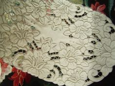 cutwork embroidery   Rose Grey Thread Hand Embroidery Cutwork Cotton Doily Placemat