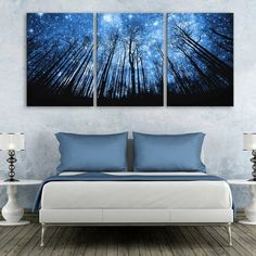 Amazon.com: ECSEO Universe Modern LED Canvas Painting Decorative Wall Universert 14 x 20 inches 3 Pieces/Set: Posters & Prints