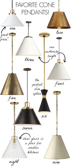 Love all of these cone pendant lights - love them over kitchen islands! Black, white, or brass and skinny or wide - so many options!! #pendants #lighting #lights #brass