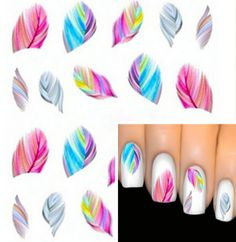 Fashion Colorful Feather Nail Art Water Transfer Sticker Nail Art Tips Wraps DIY Nail Beauty Accessories 3d Nail Art, Nail Art Pena, Feather Nail Art, Colorful Nail Art, Nail Art Kit, Nail Art Hacks, 3d Nails, Cute Nails, Nail Arts