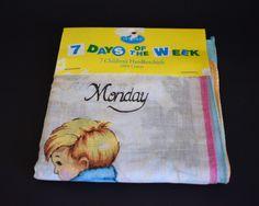 Rero Kids 7 Days a Week Handkerchiefs - Pack of 7 Vintage Childrens Hankies - Cotton - Never Been Used!