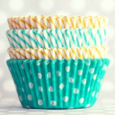 Turquoise and yellow Cupcake Liners at Shop Sweet Lulu Yellow Cupcakes, Pretty Cupcakes, Making Cupcakes, Summer Cupcakes, Lemon Cupcakes, Cupcake In A Cup, Cupcake Party, Wedding Cupcakes, Yellow Turquoise