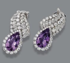 Pair Of Pear-Shaped Amethyst And Marquise And Round-Shaped Diamond Ear Clips, Mounted In Platinum And 18k White Gold