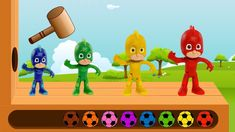 Learn Colors with PJ Masks Wooden FACE HAMMER XYLOPHONE  for Kids by Kid...