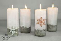 Diese stylischen Adventskerzen bestechen durch ihren coolen Betonsockel der durch den gebrochenen Rand ein echter Hingucker ist. Dabei können die gegossenen Kerzen zusätzlich farblich an den persönlic Pillar Candles, Concrete, Christmas, Winter, Cement, Craft, Ideas, Manualidades, Candle