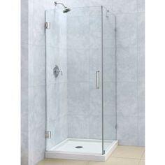 DreamLine Unidoor Lux 30 In. X 30 In. X 72 In. Frameless Hinged Corner  Shower Enclosure In Brushed Nickel