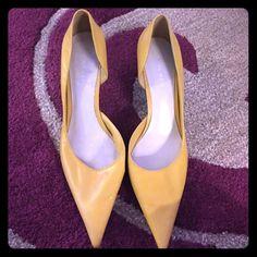 Nine West Leather Mustard Yellow Heels