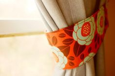 Curtain tie-backs. Burnt orange, teal, and brown; flower theme. Set of 2. Cotton…