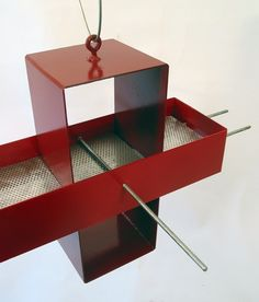 """BEAUTIFULLY COOL! """"Plus Modern #Bird Feeder in Colonial Red and Apple"""" by @Joe Papendick, $89"""