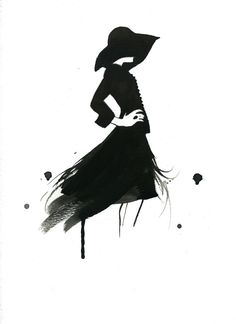 Watercolor Fashion Illustration - Simple Black Lines print