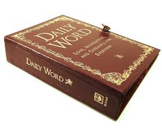 Book Clutch made from Daily Word Book in Burgundy Red - Love, Inspiration and Guidance on Etsy, $49.00