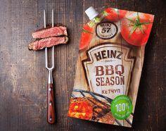 TheBestPackaging.ru – Heinz BBQ SEASON – кетчуп от Getbrand Cheese Packaging, Pouch Packaging, Food Packaging, Packaging Design, Packaging Inspiration, Design Inspiration, Meat Packing, Ketchup, Bbq