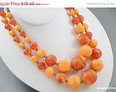 Madmen Bead Necklace Mult Strand Peach Orange & Brown
