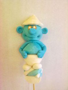 Pirulito de marshmallows Smurf