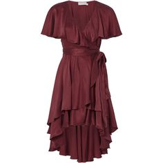 Zimmermann Flounce Wrap Dress (€540) ❤ liked on Polyvore featuring dresses, red, ruffle wrap dress, red frilly dress, frill dress, wrap dress and zimmermann dresses