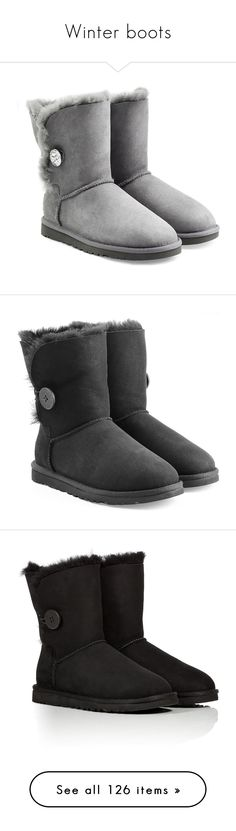 """""""Winter boots"""" by legostep ❤ liked on Polyvore featuring Winter, Leather, Boots, uggs, suede, shoes, boots, zapatos, grey and polish shoes"""