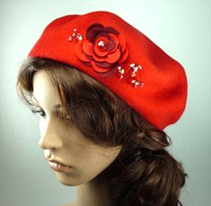 Red Wool Beret with Red and Burgundy Felt Flower