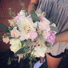 Beautiful blooms for your Tuesday morning 🌸🌺🌷 Love all the texture in this bouquet from the #dahlias to the #astilbe to the gorgeous Celestial blush spray roses and of course the #peonies ... oh, the peonies. 🤗   #blushpeonies #blushbouquet #eucalyptus #bride #stlbride #stlflorist #stlwedding #weddingflowers #weddingplanning