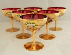 6-Moser-Bohemian-Czech-Ruby-Art-Glass-Dessert-Margarita-Goblets-Enamel-GOLD