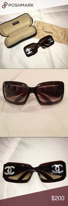Chanel mother of pearl logo sunglasses Authentic brown Chanel sunglasses with mother of pearl logos. These sunnies are classic. They have a slight scratch on one lens but it does not effect vision while wearing. Will come with original Chanel case and drawstring glasses bag. CHANEL Accessories Sunglasses