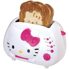 Hello Kitty 2-Slice Wide Slot Toaster With Cool Touch Exterior ($28) ❤ liked on Polyvore featuring home, kitchen & dining, small appliances, hello kitty coffee maker, hello kitty, hello kitty toaster, two slice toaster and wide slot toasters