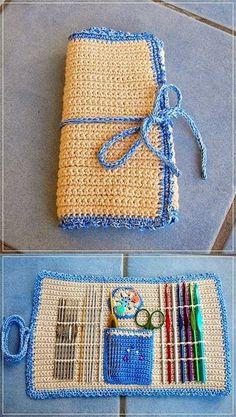 Crochet Tools, Crochet Diy, Crochet Gifts, Crochet Projects, Crochet Ideas, Crochet Hook Case, Crochet Stitches, Crochet Organizer, Crochet Mignon