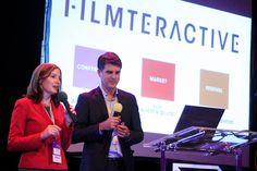 """Katarzyna Jezierska and Olek Cygan presenting """"How Pepsi brand plays with video content - case studies"""" — w miejscu: Państwowa Wyższa Szkoła Filmowa, Telewizyjna i Teatralna im. Leona Schillera w Łodzi"""