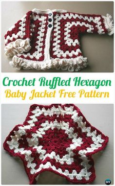 "Crochet Ruffled Hexagon Baby Jacket Cardigan Sweater Pattern - Crochet Kid's Sweater Coat Free Patterns boy first"" girl names nursery stuff Crochet Baby Sweaters, Crochet Baby Jacket, Crochet Ruffle, Baby Girl Crochet, Crochet Baby Clothes, Crochet For Kids, Baby Knitting, Knitting Ideas, Baby Patterns"