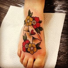 Letter with flowers tattoo on the feet. #tattoo #tattoos #ink #inked