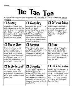 Novel study Tic Tac Toe project...great idea for literature circles