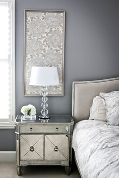 Framed wallpaper above night stands? Coordinate by wallpapering closet?