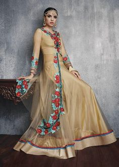 Majestic Golden Cream Lehenga Kameez Set