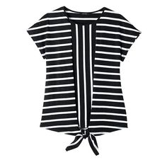 There's nothing more classic than a black-and-white striped tee. We've updated the timeless style with a vertical panel and a modern tie-front detail. FEATURES • Rounded neckline• Short sleeves• Front-tie detail • Straight hemlineMATERIALS • Cotton• PolyesterCAREMachine wash, dry flat.Imported Business Casual Outfits For Work, Work Fashion, Fashion Outfits, King Outfit, Avon Fashion, Casual Wear Women, Front Tie Top, Striped Tee, Timeless Fashion
