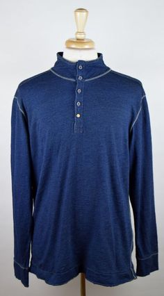 Jeremiah American Legacy Men's Size Large Long Sleeve Denim Blue Cotton Henley #Jeremiah #Henley