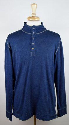 Jeremiah American Legacy Men's Size Large Long Sleeve Denim Blue Cotton Henley #Jeremiah #Henley