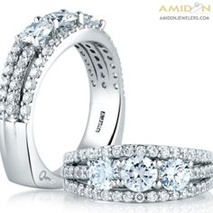 A. Jaffe 18kt White Gold Three Diamonds Anniversary Ring. Three Rows Of Prong Set 1.69ctw Of Diamonds. Signature Euro-Shank wrs063/169. Featured Diamonds have at least G/H color and VS clarity. Amidon Jewelers. *This ring is made to order Please allow 3 weeks for creation and delivery on sized ring orders.