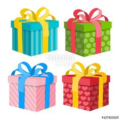 """""""Gift Box Set. Vector Present Boxes Isolated on White Background."""" Stock image and royalty-free vector files on Fotolia.com - Pic 127423229"""