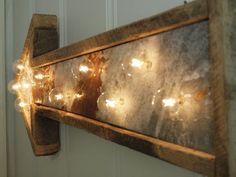 light fixture lamp metal sign hotel arrow barn wood & metal wedding handmade Industrial rust. $160.00, via Etsy.