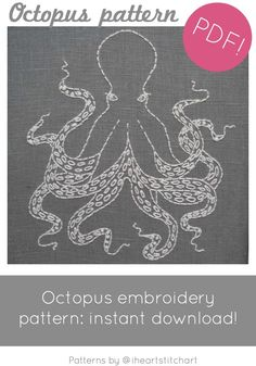 PDF embroidery pattern octopus download by iHeartStitchArt