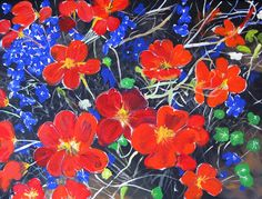 NASTURTIUMS & LOBELIAS  Original Fine Art Acrylic by KrugsStudio, $299.99