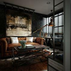 Inneneinrichtung In Einem Kleinen Wohnzimmer Im Trendigen Steampunk Stil  Wohnung Design, Chesterfield Wohnzimmer,