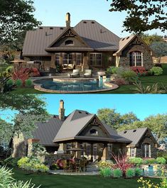 Rear Elevation of Craftsman European Tuscan House Plan 65871