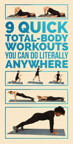 9 Quick Total-Body Workouts, No Equipment Needed fitness Body Fitness, Fitness Diet, Fitness Motivation, Health Fitness, Health Club, Fitness Routines, Exercise Routines, Physical Exercise, Workout Fitness