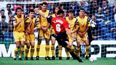 Spain 2 Romania 1 in 1996 at Elland Road. Fernando Hierro fires a free-kick just wide in Group B at Euro '96.