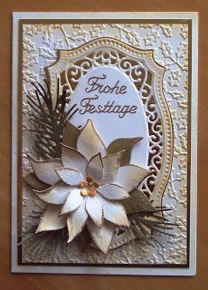"Spellbinders ""Majestic Labels Twenty-Five"", Poppystamps ""Blooming Poinsettia"", Impression Obsession ""Pine Branch Die"""