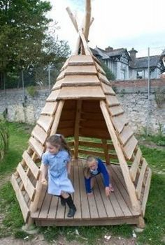 Children always need new things and places to play, so why not build them in few different shapes. Pallet wood can be easily used to make wooden hut like old fashion Red Indian huts keeping one side open so that children could play easily. Put the pallets with a little gap to make it airy.