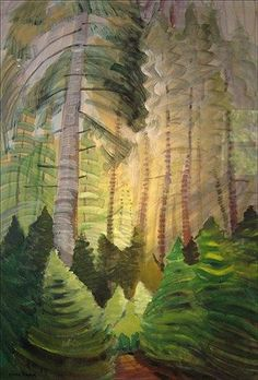 """Forest"" by Emily Carr Canadian Painters, Canadian Artists, Tom Thomson, Impressionist Paintings, Landscape Paintings, Emily Carr Paintings, Group Of Seven Paintings, Watercolor Trees, Green Landscape"